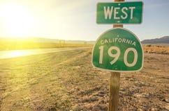 西部加利福尼亚190牌 免版税库存照片