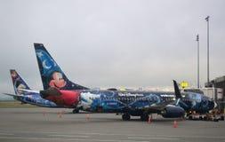 西部喷气机的五颜六色的飞机 图库摄影