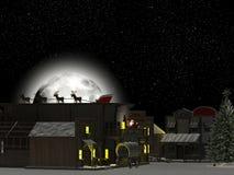 西部城镇: 圣诞老人和驯鹿1 库存图片