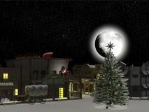 西部城镇: 圣诞老人和驯鹿1 图库摄影