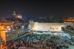 西部墙壁在晚上在耶路撒冷,以色列 免版税库存图片