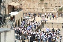 西部墙壁在耶路撒冷天 免版税库存照片