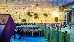西部墙壁在耶路撒冷是一个主要犹太神圣的地方 图库摄影