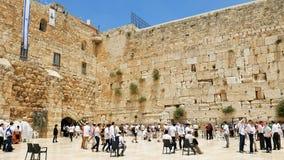 西部墙壁在耶路撒冷犹太神圣的地方 图库摄影