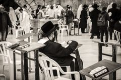 西部墙壁的正统犹太人在耶路撒冷 库存图片