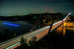 西部奥斯汀360桥梁科罗拉多河弯日落点燃去 免版税库存照片