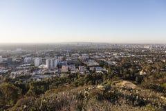 西部好莱坞小山顶视图 库存图片