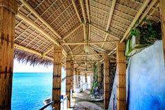 西部小海湾手段看法由竹子制成,是著名地标在菲律宾的博拉凯海岛 库存图片