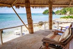西部小海湾手段看法由竹子制成,是著名地标在菲律宾的博拉凯海岛 免版税库存照片