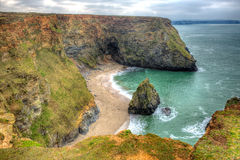 西部小海湾Portreath北部康沃尔郡HDR的英国英国 免版税库存照片