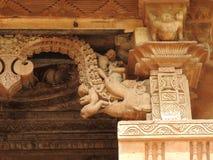 西部小组克久拉霍寺庙,联合国科教文组织遗产站点,为它性感的色情雕塑,印度,晴天是著名的 图库摄影