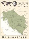 西部巴尔干和世界地图的地图与航海象 库存例证