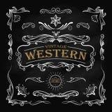 西部手拉的元素框架标签黑板葡萄酒 库存照片