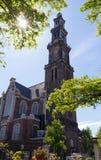 西部教会Westerkerk看法, 1620 - 1631 -荷兰新教徒的教会在阿姆斯特丹 免版税库存图片