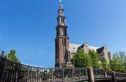 西部教会Westerkerk看法, 1620 - 1631 -荷兰新教徒的教会在阿姆斯特丹 免版税库存照片