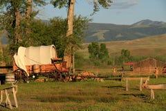 西部牛颈肉老的无盖货车 免版税图库摄影