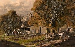 西部的大农场 免版税库存照片