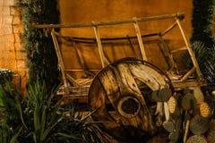 西部的无盖货车木头 库存图片