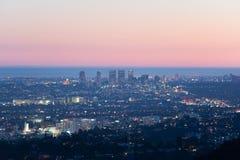 西部洛杉矶看法黄昏的 免版税库存照片