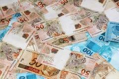 巴西金钱注意50和100 库存照片