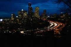 西雅图在夜之前 免版税库存图片