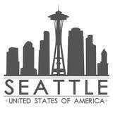 西雅图地平线剪影设计城市传染媒介艺术 免版税库存图片