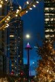 西雅图太空针塔在晚上 免版税库存照片