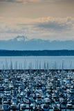 从西雅图岸的奥林匹克山范围 免版税库存照片