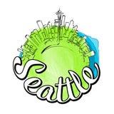 西雅图旅行商标剪影 库存照片