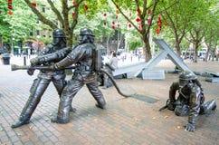 西雅图纪念下落的消防队员的 免版税库存图片