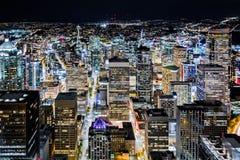 西雅图街市地平线在晚上 免版税图库摄影