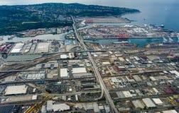 西雅图鸟瞰图从飞机的在华盛顿美利坚合众国 免版税图库摄影