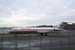 西雅图,华盛顿,美国- 2017年1月27日, :美国航空波音727-200 MSN 21386,注册N874AA,安装 免版税库存图片
