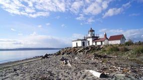 西雅图, WASHINGOTN - 2014年9月:西点军校灯塔 增加了到历史的地方人口登记  库存照片