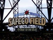 西雅图水手Safeco领域真实对蓝色标志 免版税库存照片