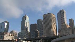 西雅图从码头50的地平线视图 股票视频