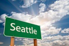 西雅图绿色路标覆盖 免版税库存照片