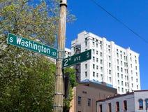 西雅图streetsign 库存图片