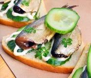 西鲱三明治,在纸的开胃菜 库存图片