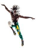 巴西黑人舞蹈家跳舞跳跃的剪影 免版税库存照片