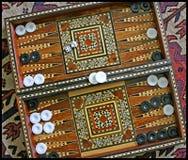 西洋双陆棋板被镶嵌的mideastern 库存图片