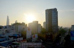 西贡市鸟瞰图都市风景  库存图片