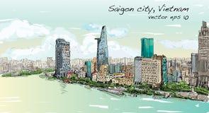 西贡市Ho池氏Mihn越南展示天空剪影都市风景  向量例证