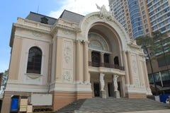 西贡歌剧院东Khoi街道都市风景胡志明市西贡越南 免版税库存图片
