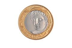 巴西` 1真正的`硬币 库存图片