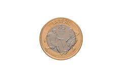 巴西` 1真正的`硬币 免版税库存图片