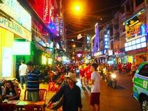 西贡胡志明市在晚上 越南 库存照片