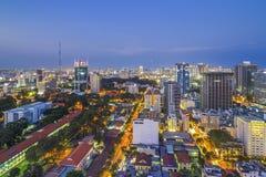 西贡,越南- 2016年4月08日-胡志明市印象风景在晚上 免版税库存照片