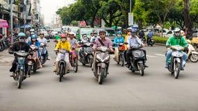 西贡,越南-高峰时间滑行车在胡志明 免版税图库摄影