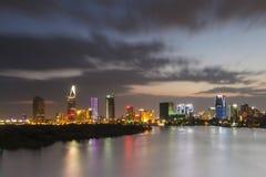 西贡,越南- DEC 17日2015年-第1区,有许多现代大厦和办公室的胡志明市的发展 免版税库存照片